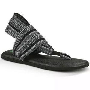Sanuk Yoga Sling Sandals 7 Striped Comfort Footbed